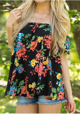 Floral Off Shoulder Fashion Blouse Without Necklace