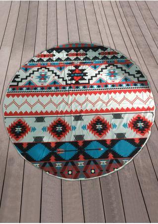 Geometric Printed Round Blanket