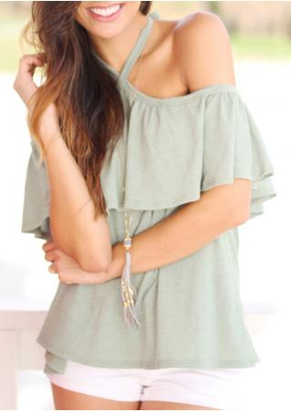 Solid Ruffled Off Shoulder Halter Blouse Without Necklace