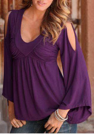 Solid Ruffled Off Shoulder Sexy Blouse