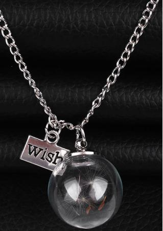 WISH Letter Dandelion Seed Pendant Necklace