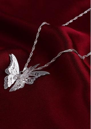 Butterfly Hollow Out Pendant Necklace