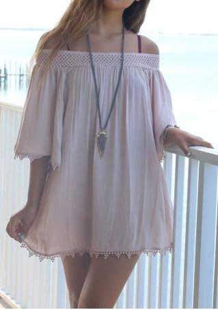 Splicing Ruffled Off Shoulder Mini Dress Without Necklace