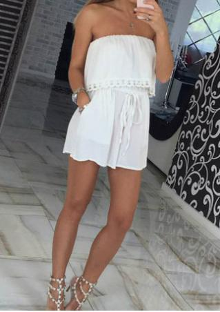 Lace Splicing Off Shoulder Drawstring Romper