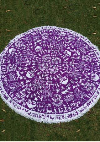 Printed Tassel Splicing Round Blanket