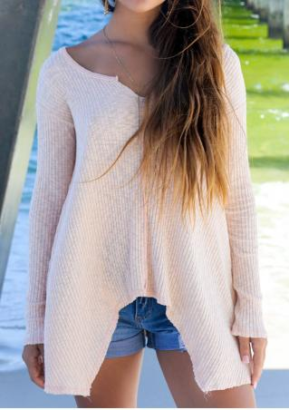 Solid Knitted Irregular Sweater Without Necklace
