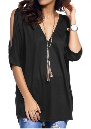 Solid Off Shoulder V-Neck Loose Blouse Without Necklace