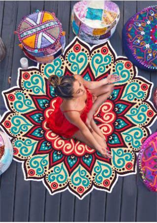 Multicolor Mandala Lotus Beach Blanket