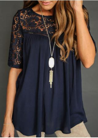 Lace Splicing Hollow Out Blouse Without Necklace