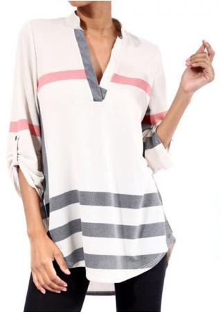 Printed V-Neck Tab-Sleeve Casual Blouse