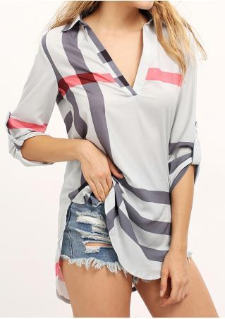 Printed V-Neck Tab-Sleeve Fashion Blouse