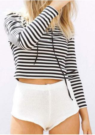 Striped Lace Up Long Sleeve Crop Top