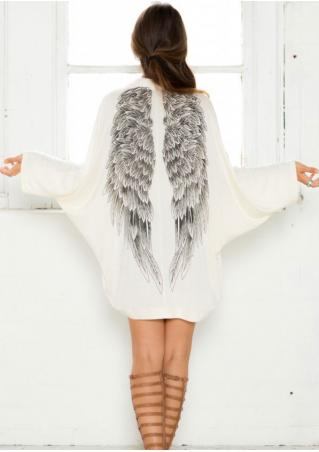 Wings Printed Batwing Sleeve Cardigan