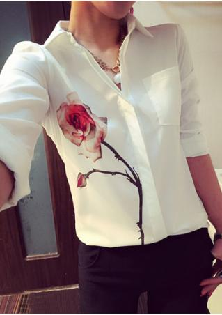 Rose Printed Long Sleeve Shirt Without Necklace