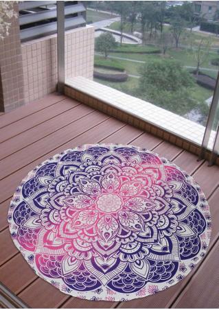 Mandala Lotus Round Blanket