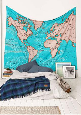 World Map Printed Fashion Rectangle Tapestry