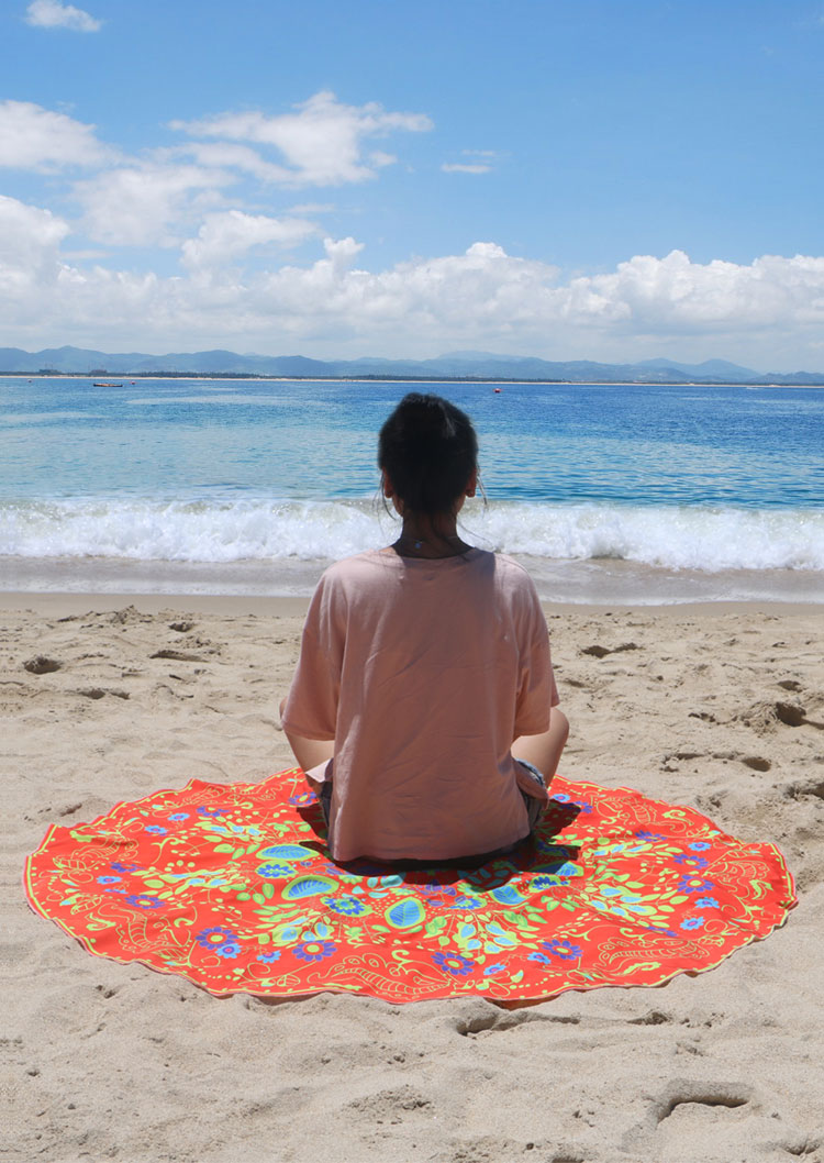 Flower Printed Round Beach Blanket Bellelily