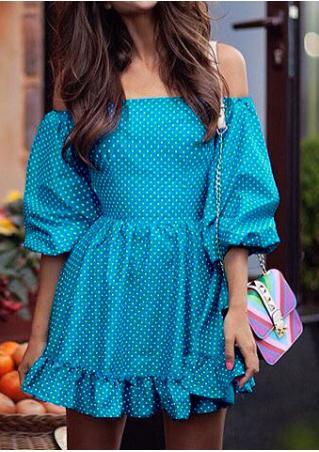Polka Dot Ruffled Slash Neck Mini Dress