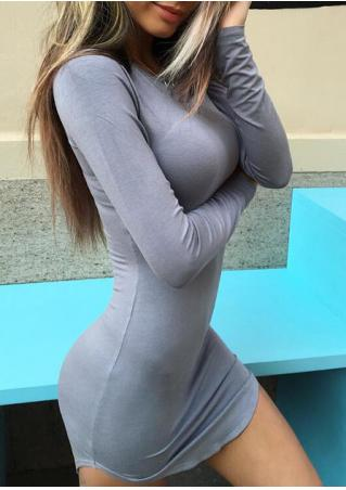 Solid Long Sleeve Sexy Bodycon Dress