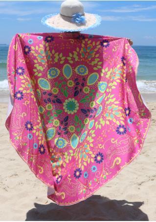 Multicolor Flower Printed Round Beach Blanket