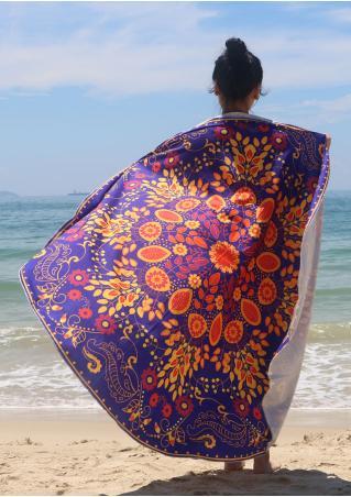 Flower Printed Round Beach Blanket