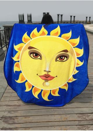 Sun Printed Round Blanket