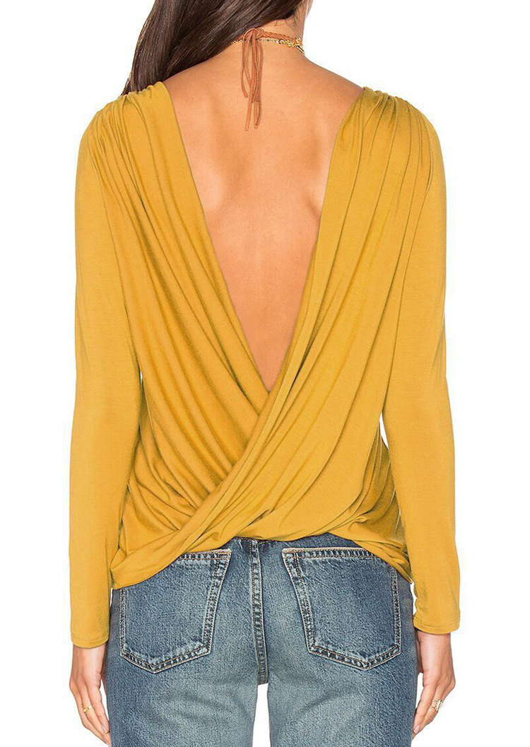 Solid Backless Cross Fashion Blouse Without Necklace