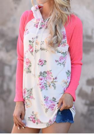Floral Splicing Long Sleeve Casual Hoodie