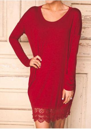 Solid Lace Splicing Long Sleeve Mini Dress