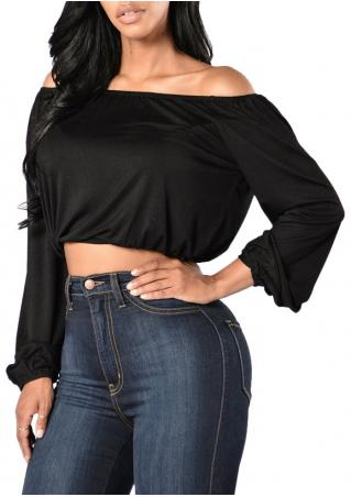 Solid Slash Neck Elastic Waist Crop Top