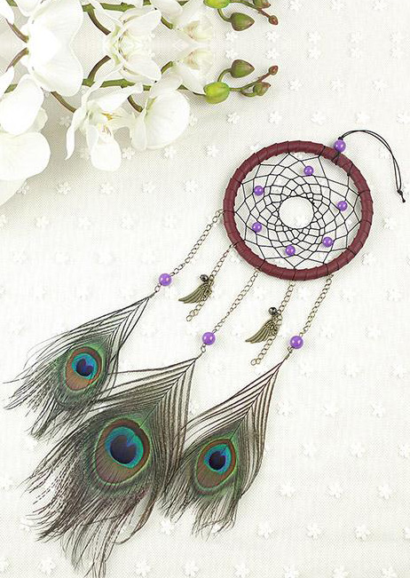 Handmade Peacock Feather Dream Catcher Hanging Decoration