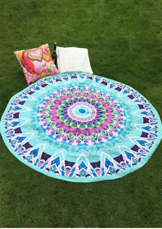 Multicolor Printed Round Picnic Blanket