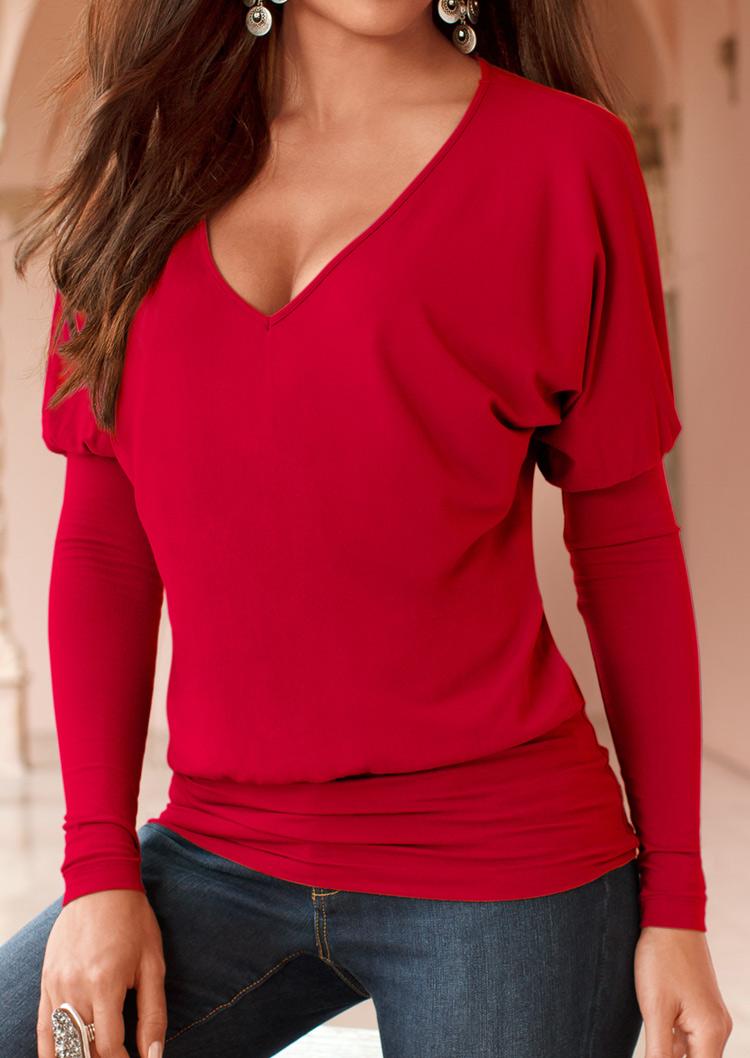Solid V Neck Long Sleeve T Shirt Bellelily
