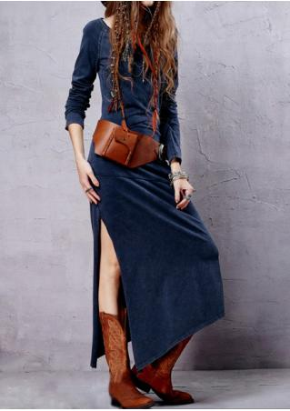 Solid Slit Asymmetric Maxi Dress Without Necklace