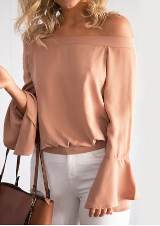 Solid Slash Neck Chiffon Blouse
