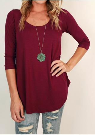 Solid Three Quarter Sleeve T-Shirt Without Necklace