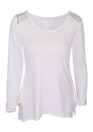 Lace Splicing Asymmetric Long Sleeve Blouse