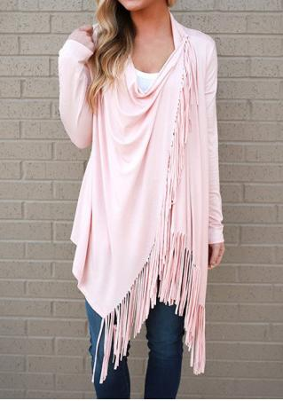 Solid Tassel Splicing Asymmetric Cardigan