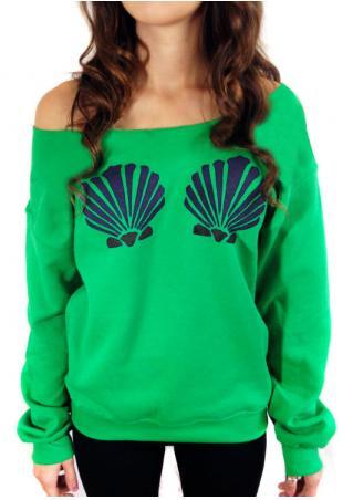Shell Printed Slash Neck Sweatshirt