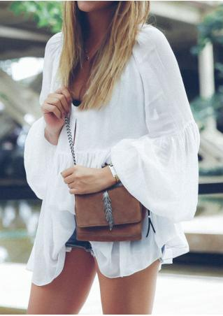 Solid Ruffled Flare Sleeve Blouse