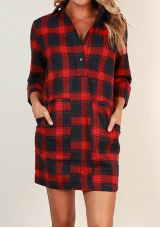 Plaid Button Pocket Mini Shift Dress
