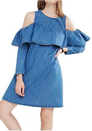 Ruffled Off Shoulder Denim Dress