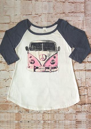 Car Printed Splicing T-Shirt