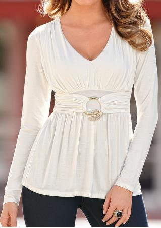 Solid Ring Detail Ruched Long Sleeve Blouse