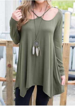 Solid Asymmetric Loose Blouse Without Necklace