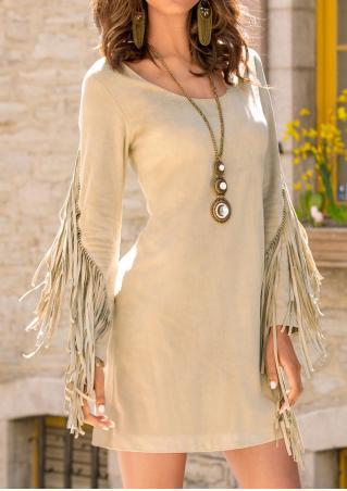 Solid Tassel Splicing Mini Dress Without Neckalce