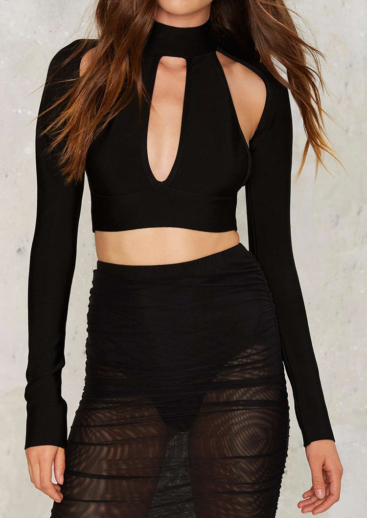 Solid Hollow Out Back Zipper Crop Top