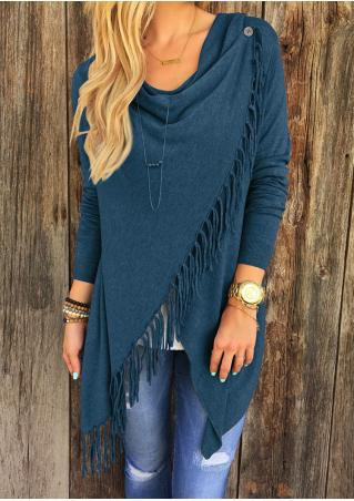 Tassel Solid Color Asymmetric Fringe Shawl