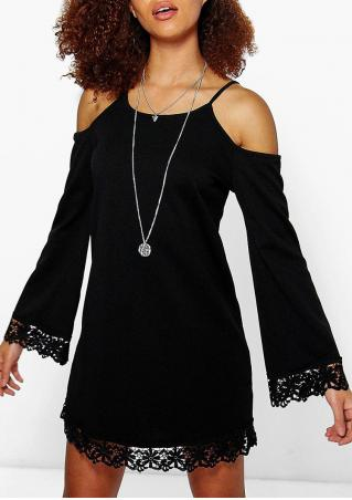 Solid Lace Splicing Off Shoulder Mini Dress Without Necklace