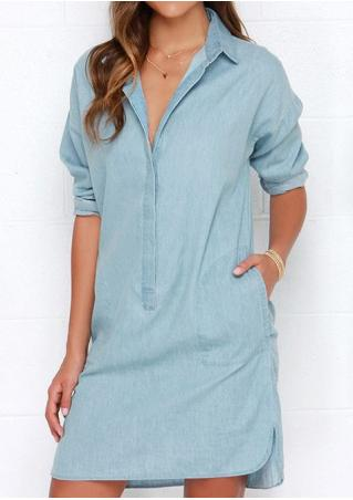 Button Long Sleeve Denim Dress Without Necklace